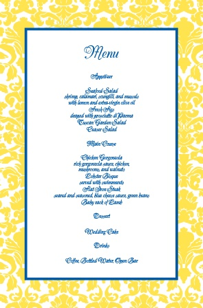 Impress your guests with the simple yet elegant and bold look of The Damask Border wedding menu.