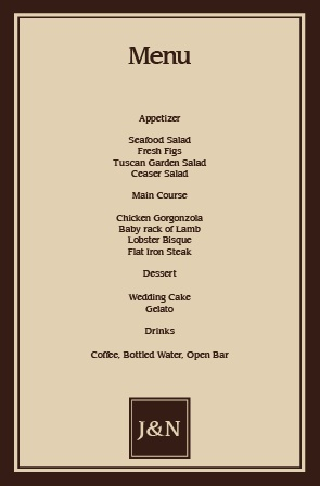 Impress your guests with the simple yet elegant and bold look of The Monogram Square wedding menu.