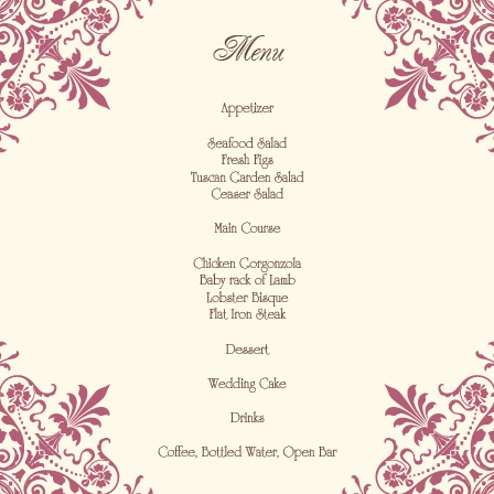 The Ornate Corners wedding menu with its distinctive look matching the rest of The Ornate Corners invitation suite perfectly.