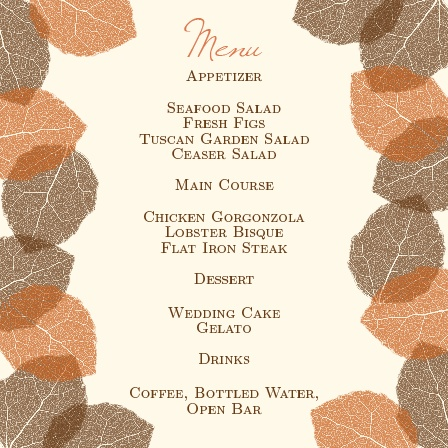 The Autumn Leaves wedding menu with its distinctive look matching the rest of The Autumn Leaves invitation suite perfectly.