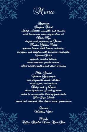 Impress your guests with the simple yet elegant and bold look of The Elegant Spires wedding menu.