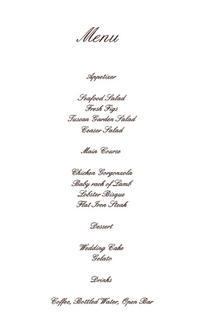 Impress your guests with the simple and bold look of The Simple Luxury wedding menu.