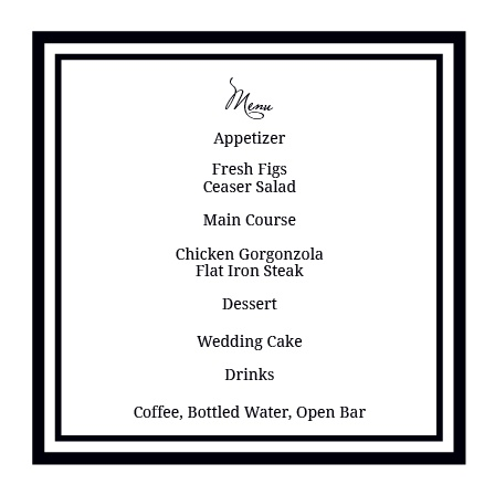 The Formal Photo Wedding Menu  Formal Dinner Menu Template