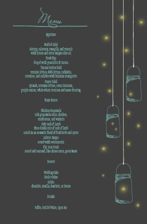 Impress your guests with the simple and bold look of The Mason Jars and Fireflies wedding menu.