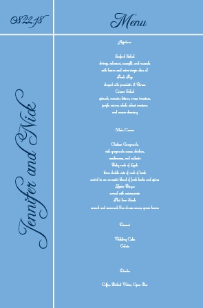 Impress your guests with the simple and bold look of The Sweet Simplicity wedding menu.