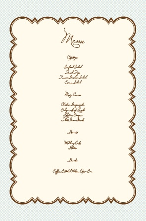 Impress your guests with the simple and bold look of The Scalloped Frame wedding menu.