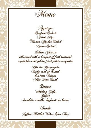 Wedding menus design your menu instantly online basic invite the vintage classic wedding menu junglespirit Images