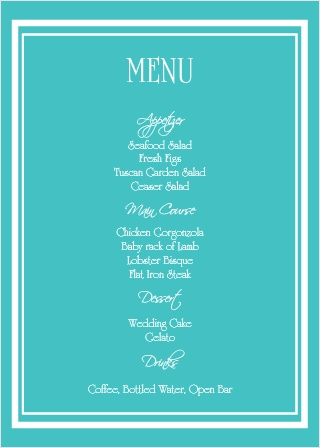 The Victorian Charm wedding menu with its distinctive look matching the rest of the Victorian Charm invitation suite perfectly.