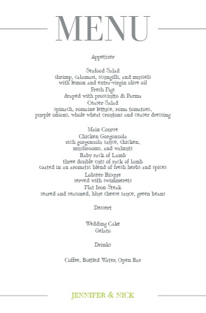 Impress your guests with the simple and bold look of The Sophisticated wedding menu.