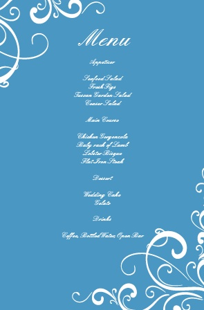 Impress your guests with the simple and bold look of The Simple Swirls wedding menu.
