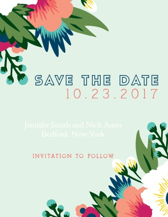 The Tropical Flower Save-the-Date Magnet