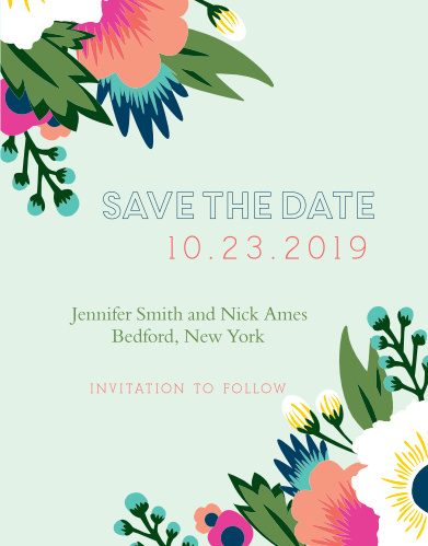 The Tropical Flower Save the Date Card has a very modern floral design that is fully customizable.