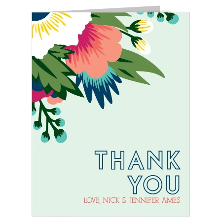 Show your gratitude with The Tropical Flower thank you card which has a very modern floral design that is fully customizable.
