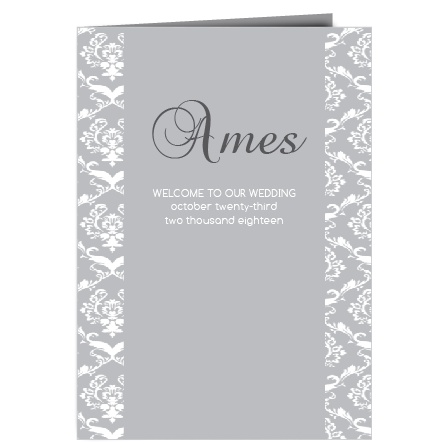 The Damask Sides wedding programs are a perfect match to the rest of the Damask Sides wedding suite.