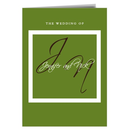 The Initials Square wedding program is a perfect match to the rest of The Initials Square wedding suite.