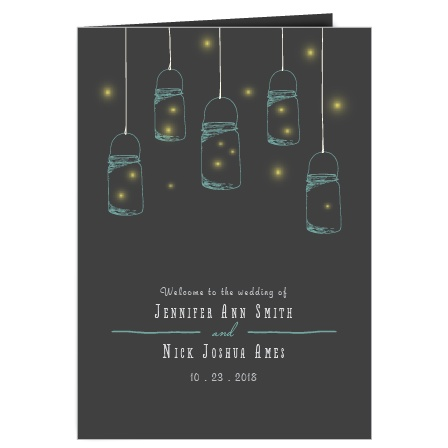 The Mason Jars and Fireflies wedding program is a perfect match to the rest of the Mason Jars and Fireflies wedding suite.