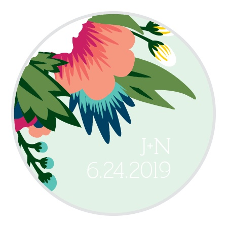 The Tropical Flower logo square is the finishing touch to an already beautiful invitation suite.