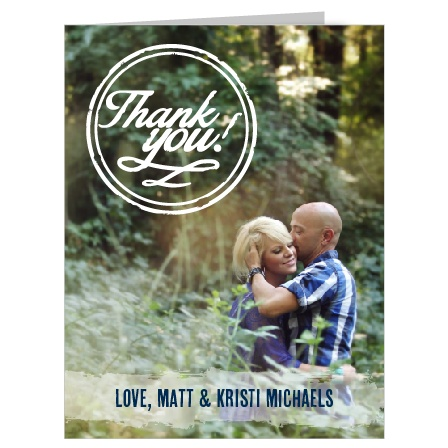 Show your gratitude with the Tying the Knot Thank You card. This card gives you an opportunity to show off one of your beautiful wedding photos.