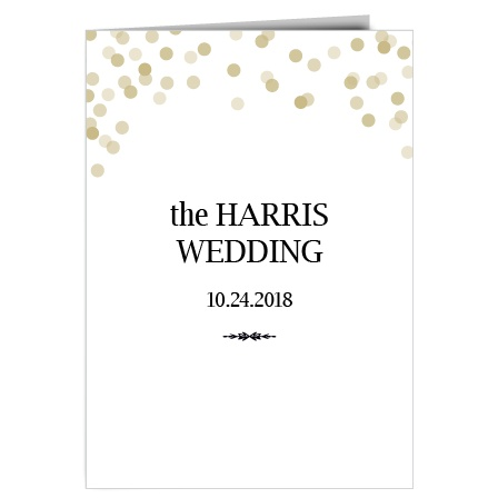 The Glamorous Confetti wedding program is a perfect match to the rest of the Glamorous Confetti wedding suite.