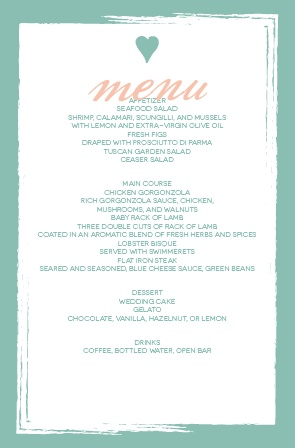 Impress your guests with this trendy and modern wedding menu.