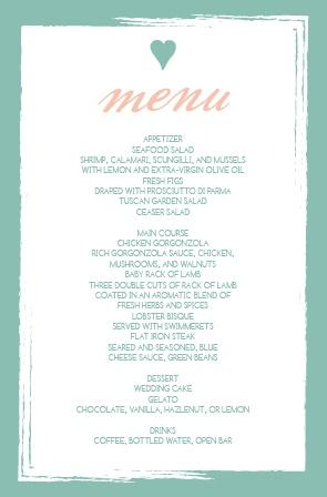 Wedding menus design your menu instantly online basic invite the photo heart wedding menu junglespirit Gallery