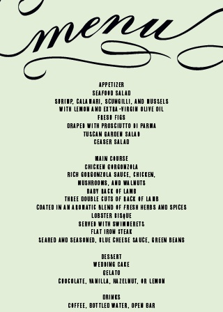 Impress your guests with this trendy and classy wedding menu.