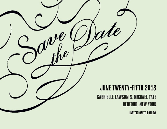 The Flourish Names Save the Date Card is the classy card you're looking for. With this elegant design, you can change all the colors in order to match your wedding scheme. Personalize the card and see your modifications instantly!