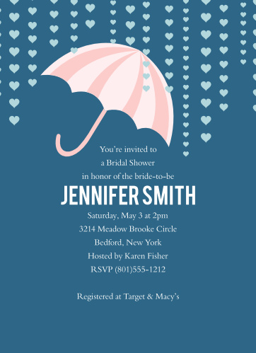 """What says """"Bridal Shower"""" more than an umbrella showered with hearts? Customize the colors, fonts, and information to make this card uniquely yours!"""