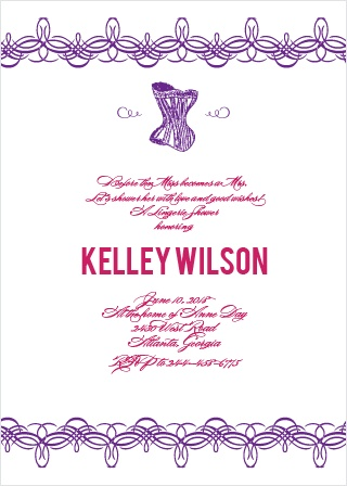 corset lingerie bridal shower invitation