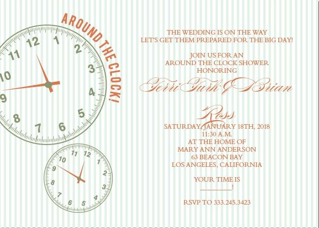 Around the clock bridal shower invitations match your color around the clock bridal shower invitation filmwisefo