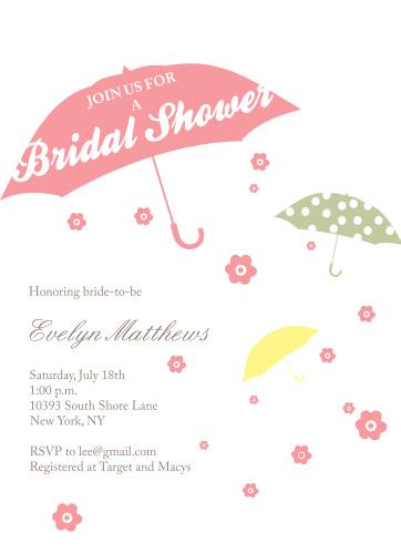 Umbrella bridal shower invitations match your color style free april showers bridal shower invitations filmwisefo