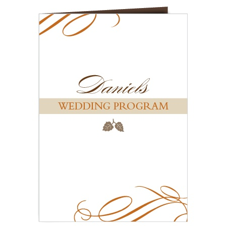 The Elegant Fall Scrolls wedding program is a perfect match to the rest of The Elegant Fall Scrolls wedding suite.