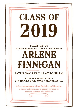 Customize this simple, yet beautifully rustic graduation announcement that doubles as a graduation invitation! Customize colors, fonts, and more!