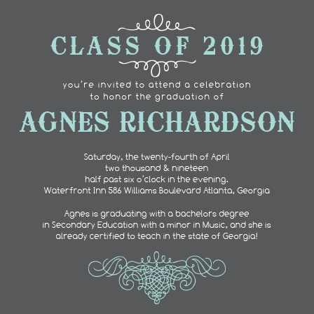 The Scrolls Graduation Announcement with is simple, yet elegant way to let everyone know of your accomplishment.  Personalizing the Scrolls is easy with instant previews and over 150 different colors to chose from.