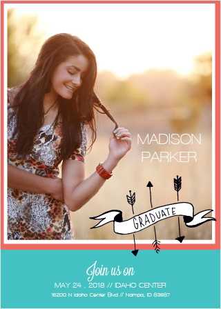 Stand out with this one of a kind Grad Announcement. Show off your senior this glorious event. Customize the colors and fonts to fit your personality! Enter your graduation day details as well as the after party celebration!