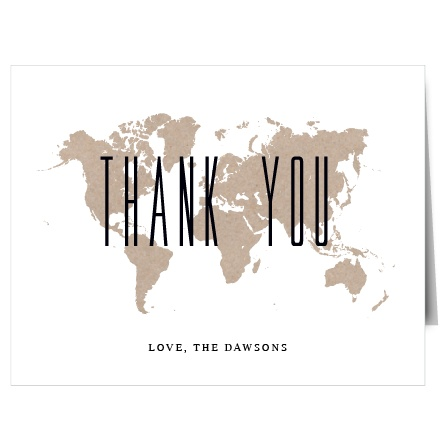 Express your gratitude with this map inspired Thank You card. Customize all the colors and fonts perfectly to your liking!
