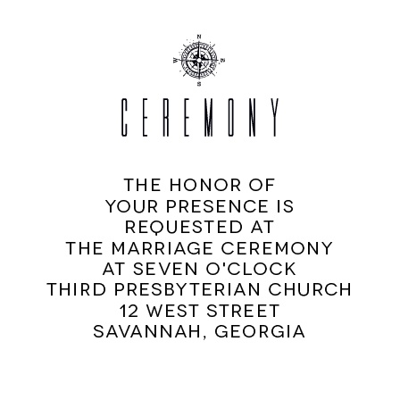 Invite your guests to your ceremony with this ceremony card.