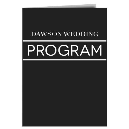 The Transparent Text wedding program is a perfect match to the rest of the Transparent Text wedding suite.
