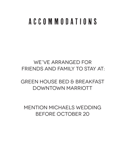 Make things too easy for your guests by providing them with this fully customizable Accommodation card.