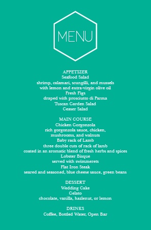 Impress your guests with this traditional wedding menu.