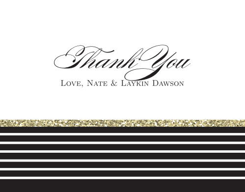 Add a little sparkle to your gratitude with the The Elegant Gold Stripes Thank You card. Customize all the colors and fonts perfectly to your liking!