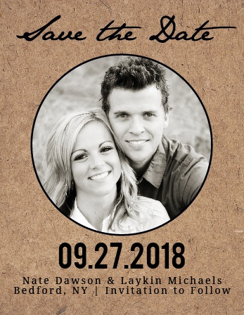 The Classic Kraft is a rustic photo save the date card with a textured background. As always, you can change the colors and fonts in order to match your wedding scheme. Personalize the card and see your modifications instantly!