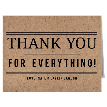Show your gratitude with the Classic Kraft Thank You card. Customize all the colors and fonts perfectly to your liking!