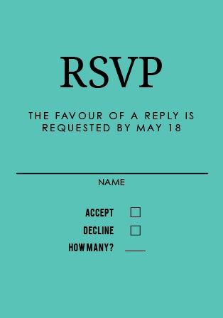 Obtain your guests attendance by sending out this RSVP card. Customize the colors and fonts to match you wedding theme exactly!