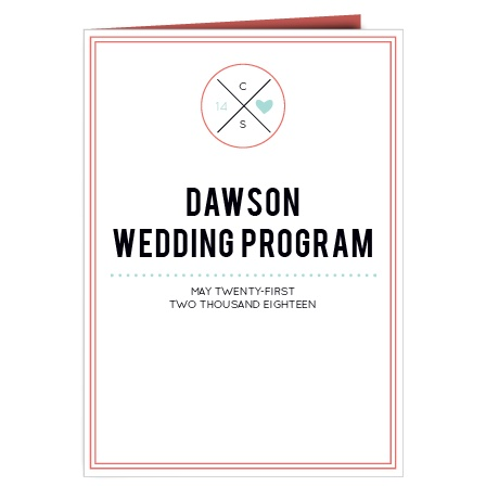 The Modern Monogram wedding program is a perfect match to the rest of The Modern Monogram wedding suite.