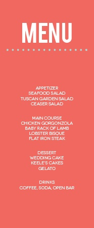 The Modern Monogram menu is perfect for any venue! The tall format of this menu gives you all the room you need. Totally customizable fonts and colors too! Hooray!