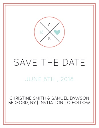 The Modern Monogram save the date card has a simple clean design. As always, you can change the colors and fonts in order to match your wedding scheme. Personalize the card and see your modifications instantly!