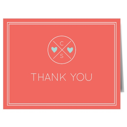 Show your gratitude with The Modern Monogram Thank You card. Customize all the colors and fonts perfectly to your liking!