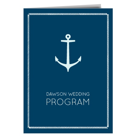 The Nautical Anchor wedding program is a perfect match to the rest of the Nautical Anchor wedding suite.