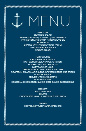 Impress your guests with this nautical wedding menu.